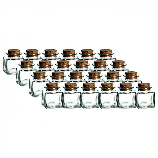 24er Set - 50 ml Korkenglas Quadrat