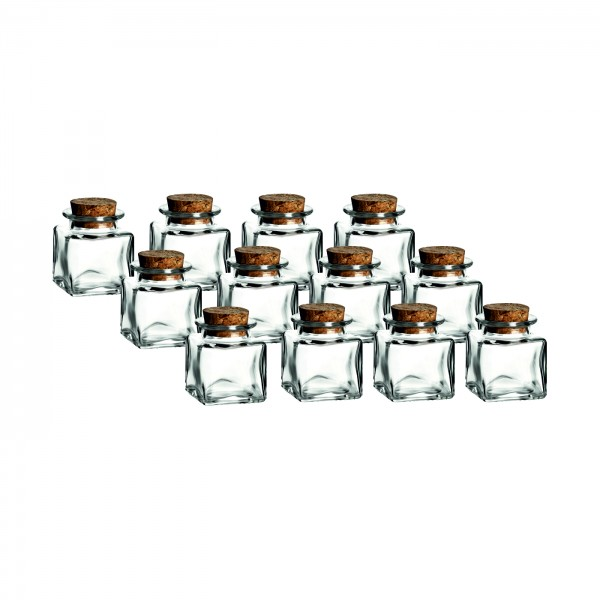 12er Set - 50 ml Korkenglas Quadrat